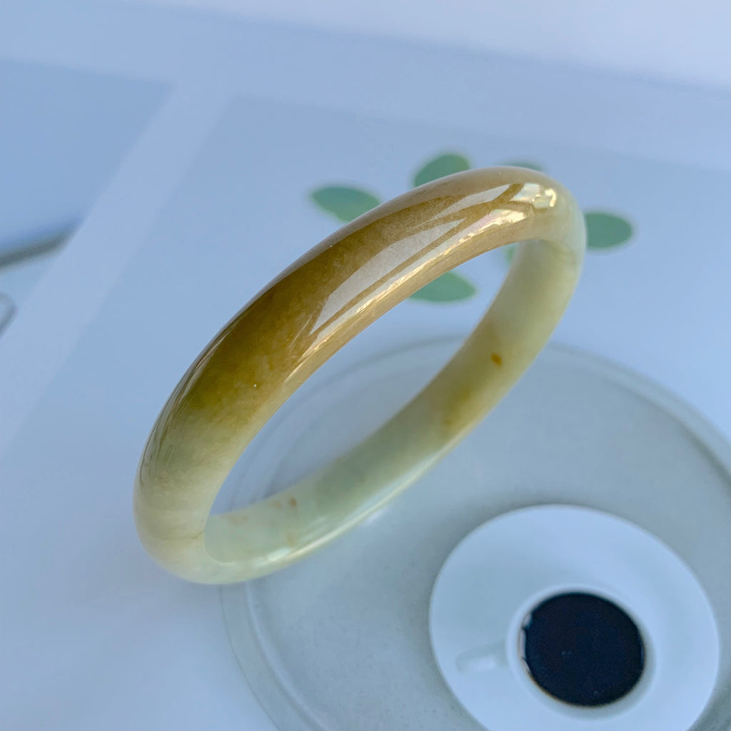 49.6mm A-Grade Jadeite Yellow And Green Modern Oval Bangle No.330004