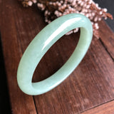 SOLD OUT: A-Grade Type A Natural Mint Green Jadeite Jade Modern Round Bangle No.151435