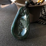 SOLD OUT: A-Grade Type A Natural Dark Green Jadeite Jade Dragon Pendant No.170391