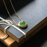 Icy A-Grade Type A Natural Green Jadeite Jade Clavicle Chain Necklace (18k yellow gold) No.190051