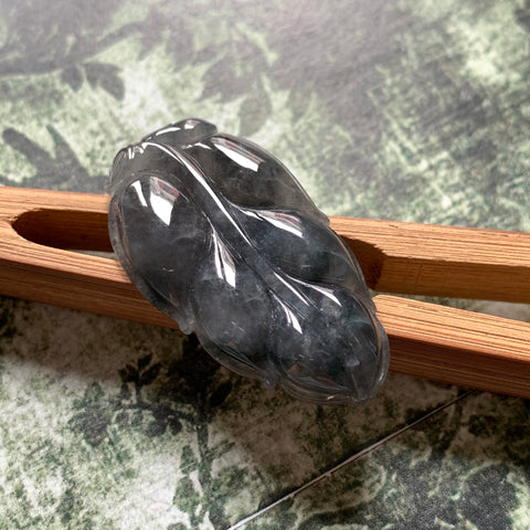 A-Grade Natural Black Jadeite Leaf Pendant No.220140