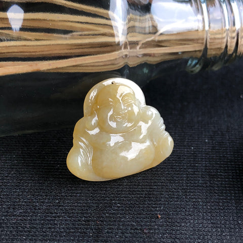 A-Grade Type A Natural Yellow Jadeite Jade Buddha Pendant No.170589