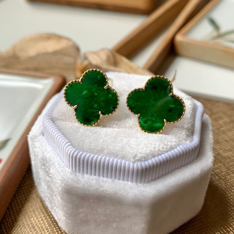 A-Grade Natural Green Jadeite Clover Stud Earring (18k Champagne Gold) No.180238