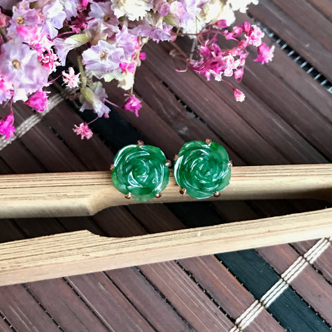 Imperial Green A-Grade Type A Natural Jadeite Jade Rose Earrings (18k Rose Gold) No.180057