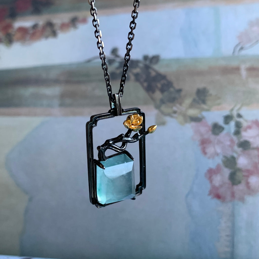SOLD OUT: Highly Icy A-Grade Type A Natural Jadeite Beaded Bonsai Pendant Necklace No.170602