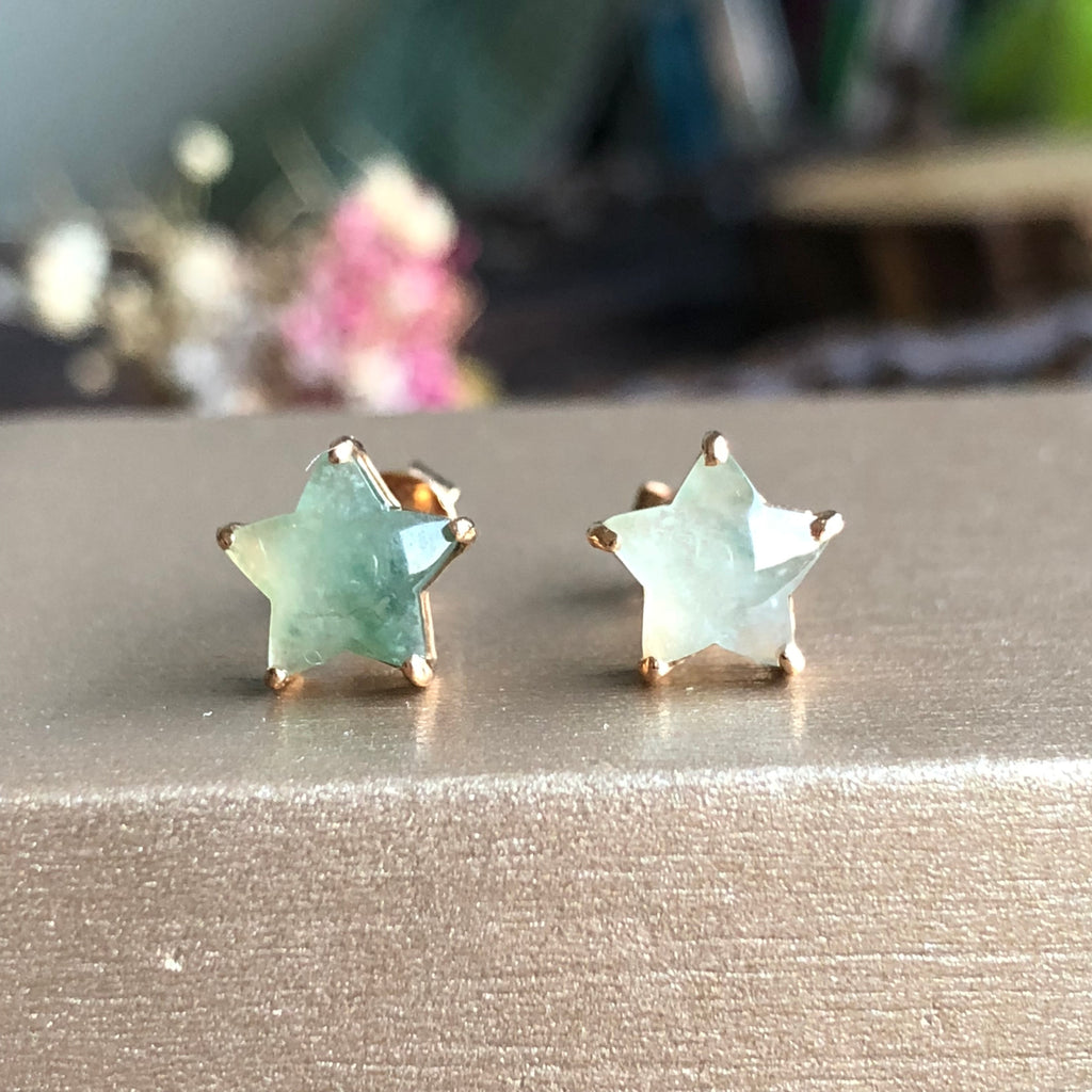 SOLD OUT: Icy A-Grade Type A Natural Floral Jadeite Jade Star Earrings (18k rose gold) No.180072