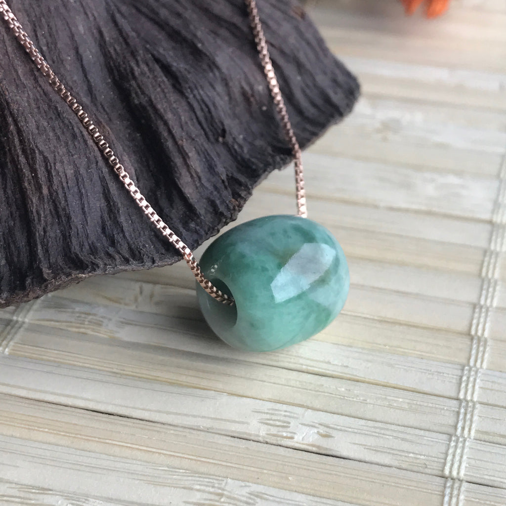 SOLD OUT: A-Grade Type A Natural Jadeite Jade Barrel Pendant No.170340