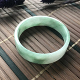SOLD OUT: 45.6mm A-Grade Type A Natural Floral Jadeite Jade Modern Round Bangle No.151410