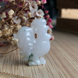 A-Grade Type A Natural Floral Jadeite Jade Rooster Pendant No.170400