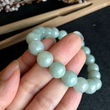 SOLD OUT: 10.2mm A-Grade Type A Natural Mint Green Jadeite Jade Beaded Bracelet No.190069