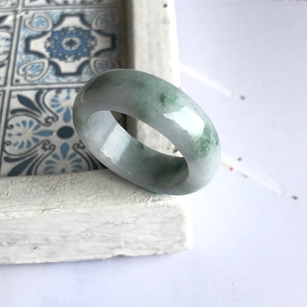 A-Grade Type A Natural Floral Lavender Green Jadeite Jade Abacus Ring No.161322