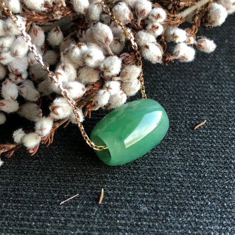 SOLD OUT: A-Grade Type A Natural Green Jadeite Jade Barrel Pendant No.170312
