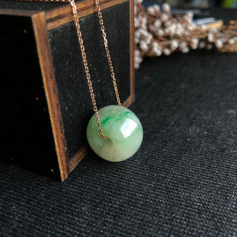 SOLD OUT: A-Grade Type A Natural Jadeite Jade Barrel Pendant No.170329