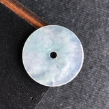 Icy A-Grade Type A Natural White Jadeite Jade Donut Pendant No.170249