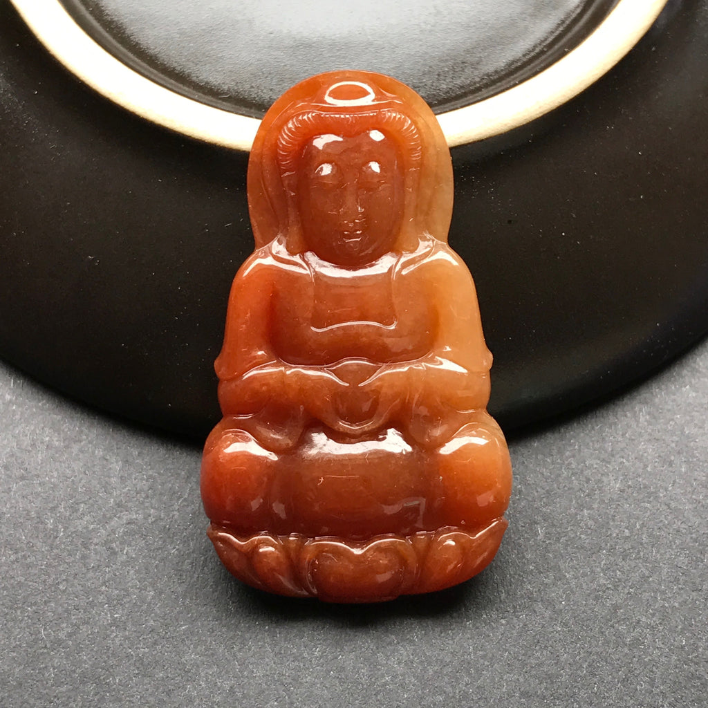 SOLD OUT: Red A-Grade Type A Natural Jadeite Jade Goddess of Mercy (Guan Yin) Pendant No.170090