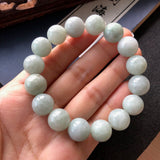 12.6mm A-Grade Type A Natural Light Green Jadeite Jade Beaded Bracelet No.190072