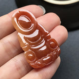 Red A-Grade Type A Natural Jadeite Jade Goddess of Mercy (Guan Yin) Pendant No.170090