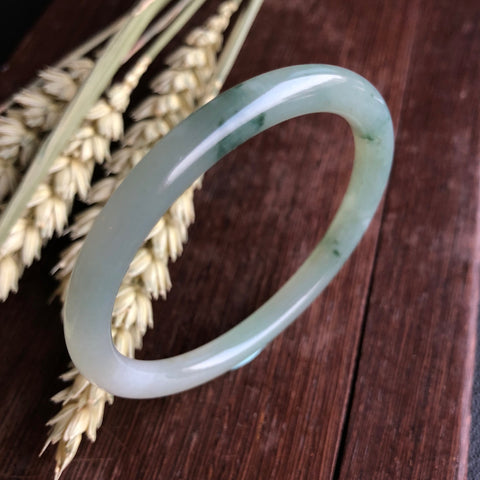 50.7mm A-Grade Type A Natural Floral Jadeite Jade Traditional Round Bangle No.151423