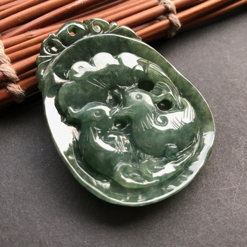SOLD OUT: Vintage A-Grade Type A Natural Jadeite Jade Mandarin Ducks Pendant No.170098