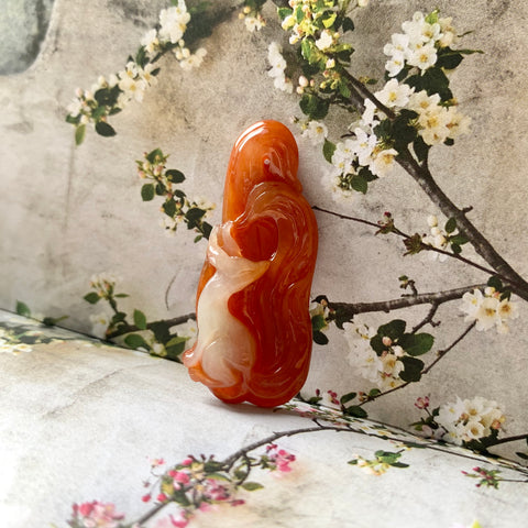 SOLD OUT: A-Grade Natural Red Jadeite Fox Pendant No.170822