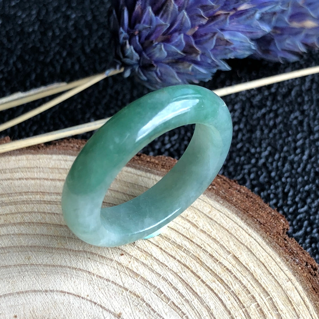 SOLD OUT: A-Grade Type A Natural Green Jadeite Jade Thin Abacus Ring Band No.161276