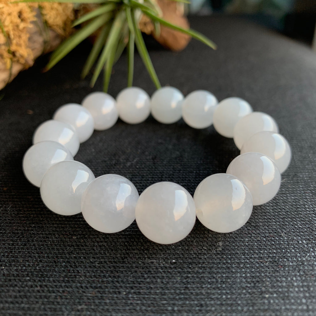 13.3mm Icy A-Grade Type A Natural White Jadeite Jade Beaded Bracelet No.190137