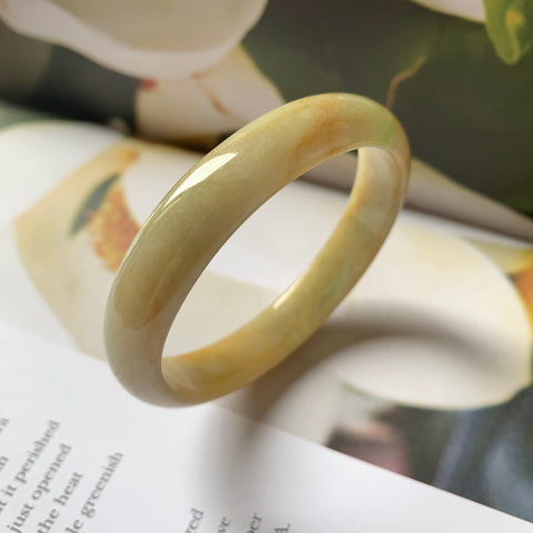 52.2mm A-Grade Type A Jadeite Jade Modern Oval Bangle No.151098