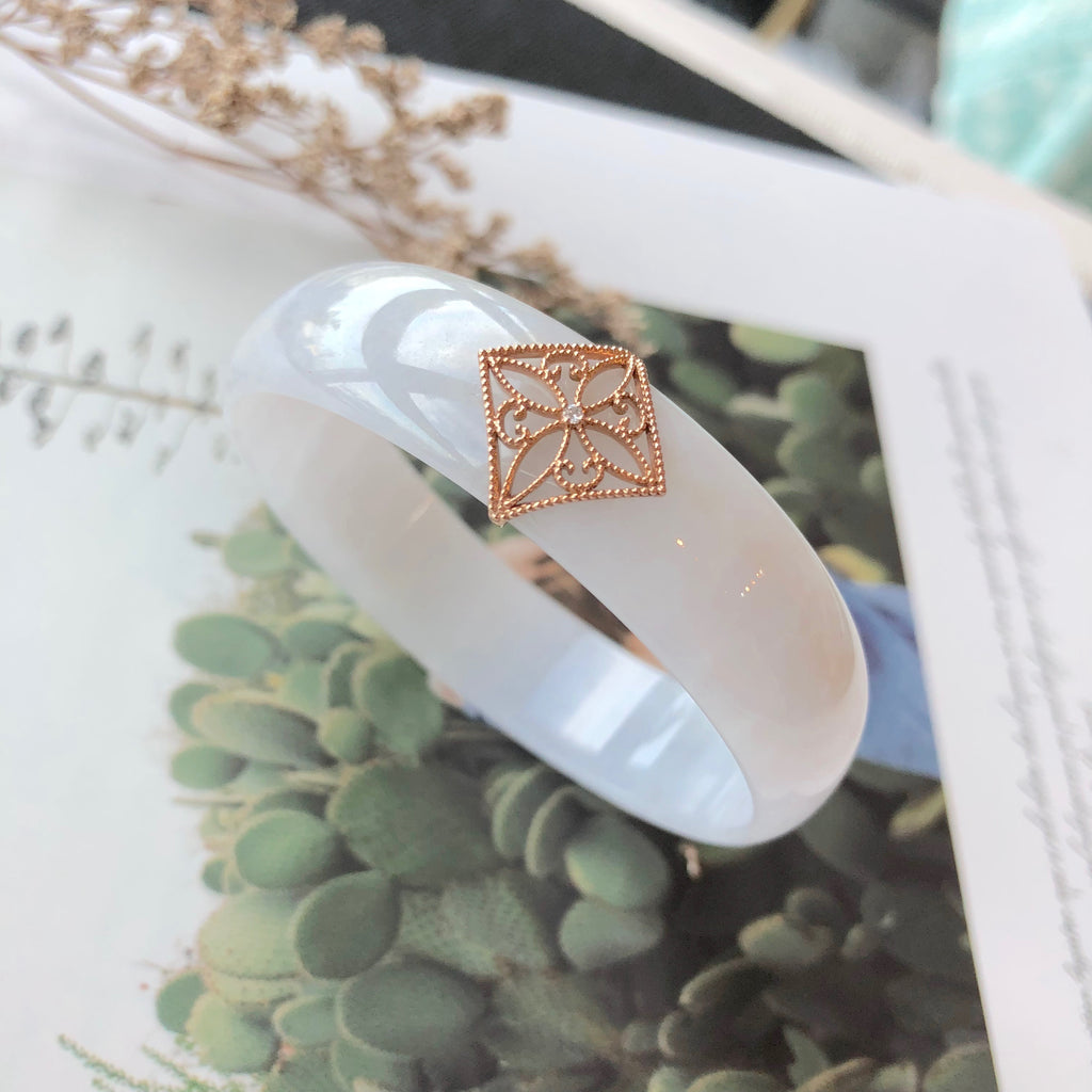 52.6mm A-Grade Natural Jadeite Modern Round Bangle French Lace (18k Rose Gold & Diamond) No.151648