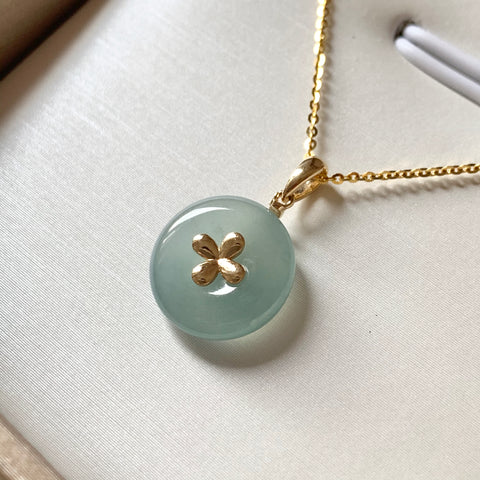 Icy A-Grade Natural Bluish Green Jadeite Bespoke Donut Pendant (18k Champagne Gold) No.171465