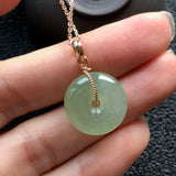 SOLD OUT: Icy A-Grade Type A Natural Tiffany Green Jadeite Jade Donut Pendant (18k Rose Gold Spiral Bail) No.170409