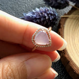 Icy A-Grade Type A Natural Lilac Jadeite Jade Heart Ring (18k rose gold and diamonds) No.161279