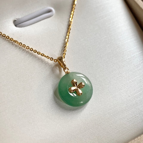 A-Grade Natural Green Jadeite Bespoke Donut Pendant (18k Champagne Gold) No.171467