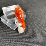 SOLD OUT: A-Grade Type A Natural Red and White Jadeite Jade Fox Pendant No.170568