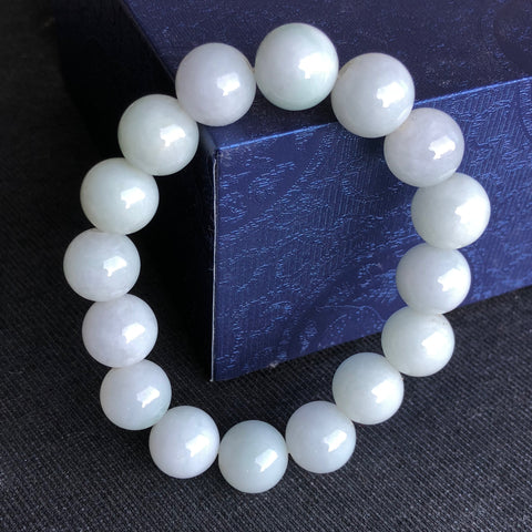 13.2mm A-Grade Type A Natural Green and White Jadeite Jade Beaded Bracelet/ Necklace No.190075