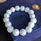 SOLD OUT: 13.2mm A-Grade Type A Natural Green and White Jadeite Jade Beaded Bracelet/ Necklace No.190075