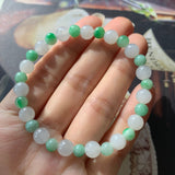 6.8mm & 5.5mm A-Grade Type A Natural Lilac Green Jadeite Beaded Bracelet No.190141