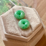 SOLD OUT: A-Grade Natural Moss on Snow Jadeite Donut Pair No.180265