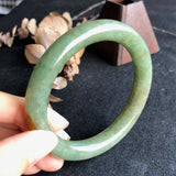 SOLD OUT: 56.9mm A-Grade Type A Natural Jadeite Jade Traditional Round Bangle No.151043
