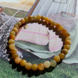5.5mm A-Grade Type A Natural Yellow Jadeite Jade Beaded Bracelet No.190142