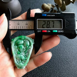 SOLD OUT: A-Grade Type A Natural Green Jadeite Jade Pendant with Multiple Carvings No.170353