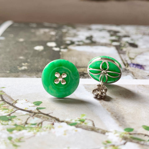 A-Grade Natural Green Jadeite Donut Earring Stud (18k White Gold) No.180269