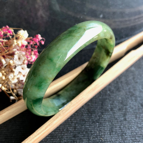 49mm A-Grade Type A Natural Shades of Green Jadeite Jade Modern Round Bangle No.151428