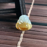 SOLD OUT: Icy A-Grade Type A Natural Yellow Jadeite Jade Buddha Pendant No.170355