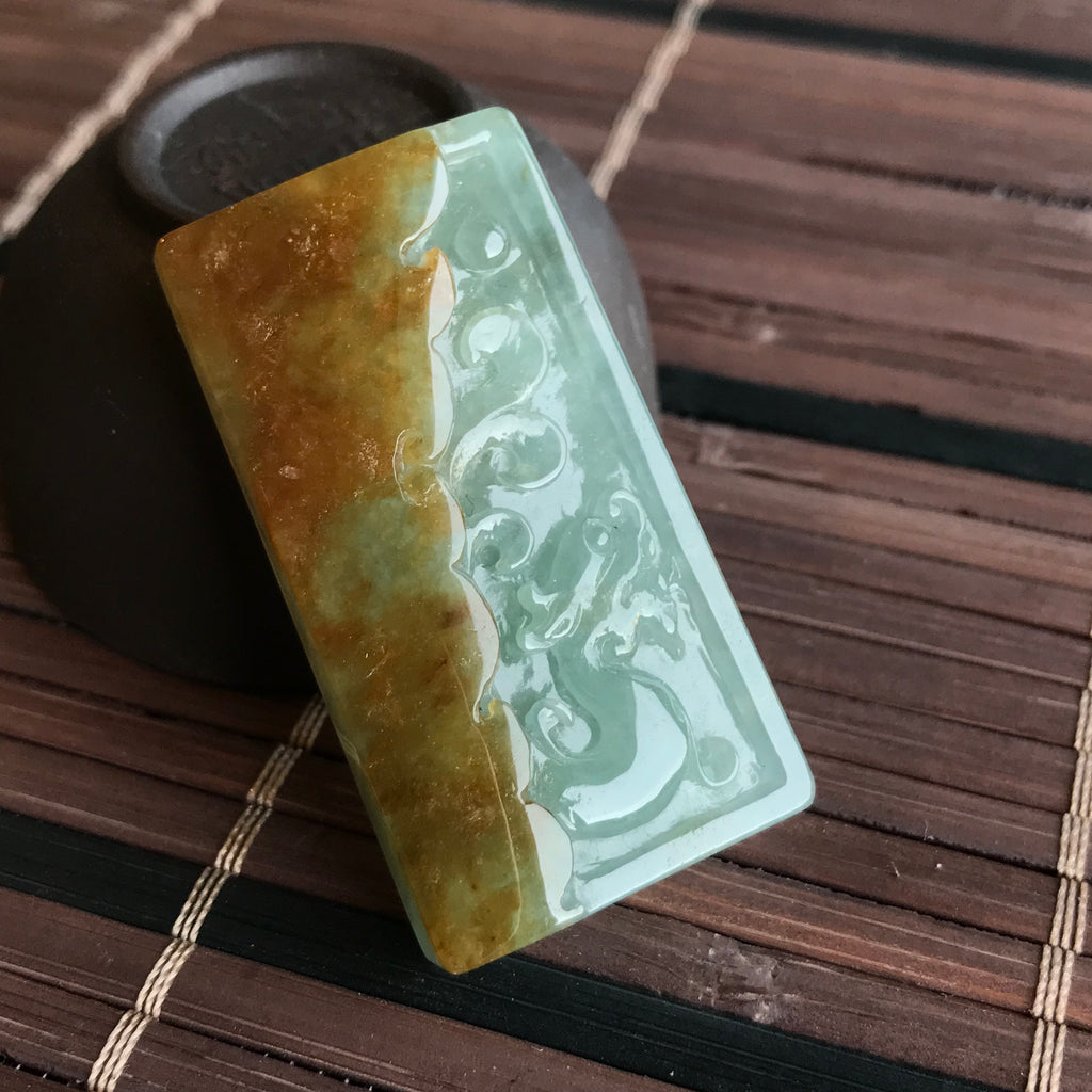 SOLD OUT: Bail Setting 20k yellow gold. Icy A-Grade Type A Natural Jadeite Jade Dragon Pendant No.170356