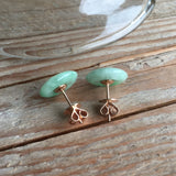 SOLD OUT: A-Grade Type A Jadeite Jade Green Mini Donut Earrings (18k Rose Gold) No.180018