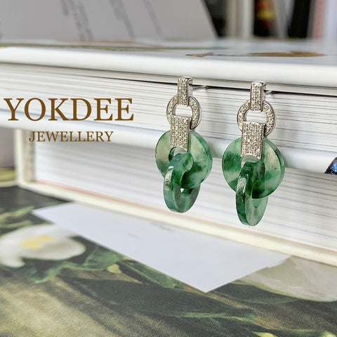 A-Grade Natural Floral Imperial Green Jadeite Dangling Earring No.180281