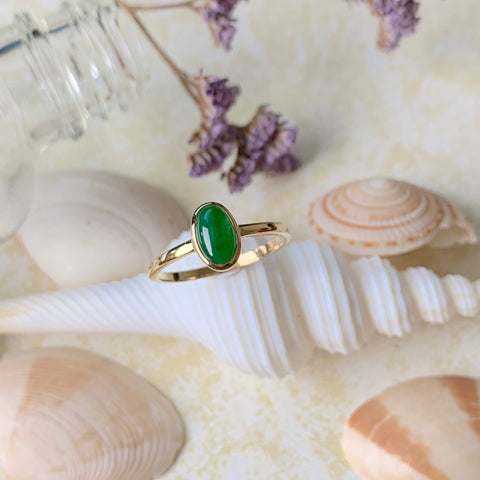 A-Grade Natural Jadeite Imperial Green Cabochon Bespoke Ring (18k Champagne Gold) No.161385