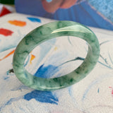 53.7mm A-Grade Natural Bluish Green Floral Jadeite Modern Round Bangle No.151547