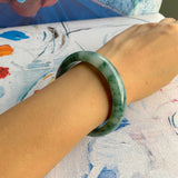 53.7mm A-Grade Type A Natural Bluish Green Floral Jadeite Modern Round Bangle No.151547