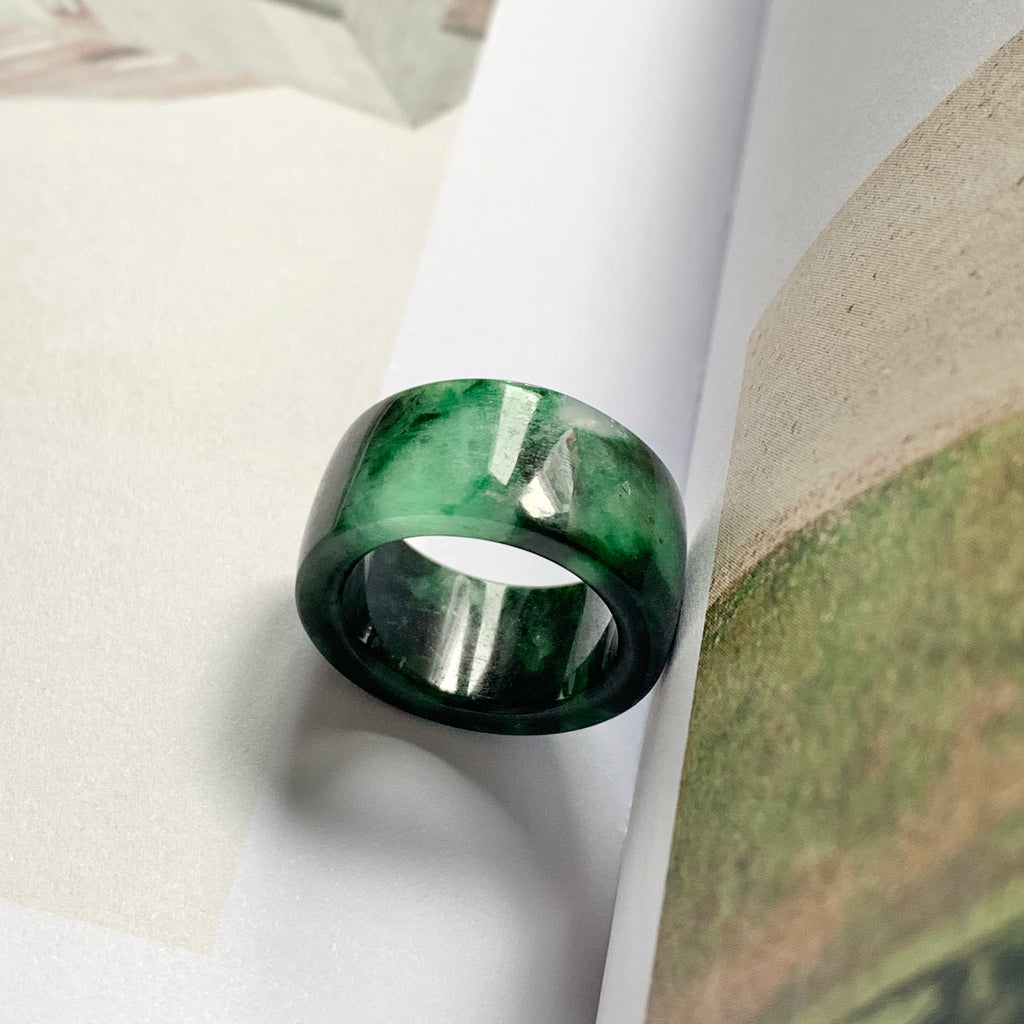 A-Grade Natural Floral Imperial Jadeite Ring Band No.220523